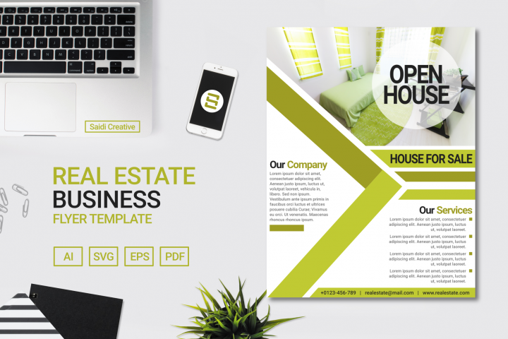 Real Estate Business Flyer Template Design with Green Colour