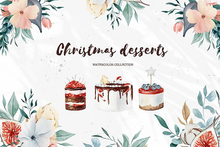 Christmas watercolor desserts