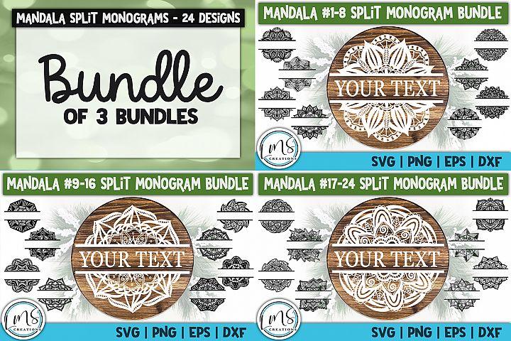Split Mandala 1-24 Split Monogram Bundle SVG, PNG, EPS, DXF