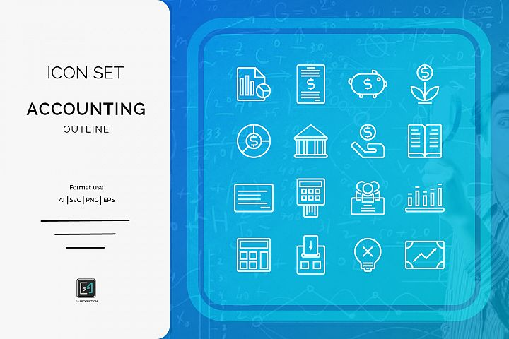 Icon set Accounting outline style