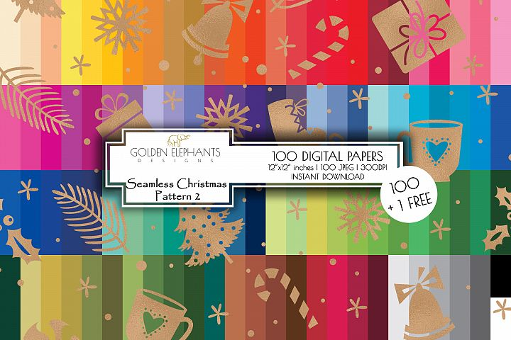 100 Seamless Christmas 2 Background Digital Paper