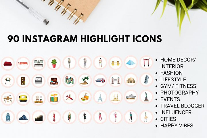 Instagram Story Highlight Icons- Set of 90