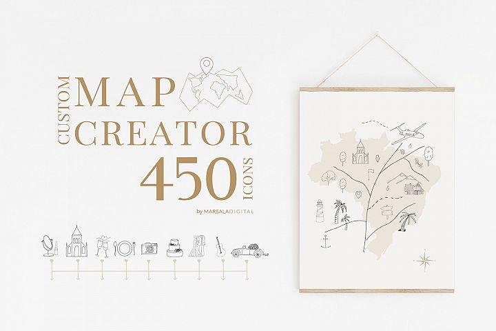 Map Creator Wedding Travel Summer Icons, Vector