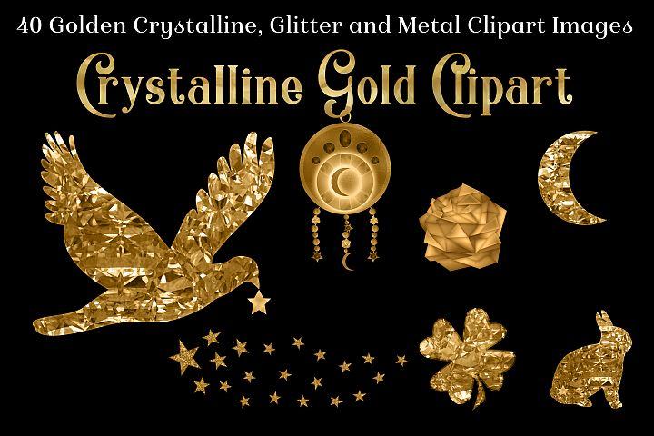 Crystalline Gold Clipart Set - 40 Golden Images
