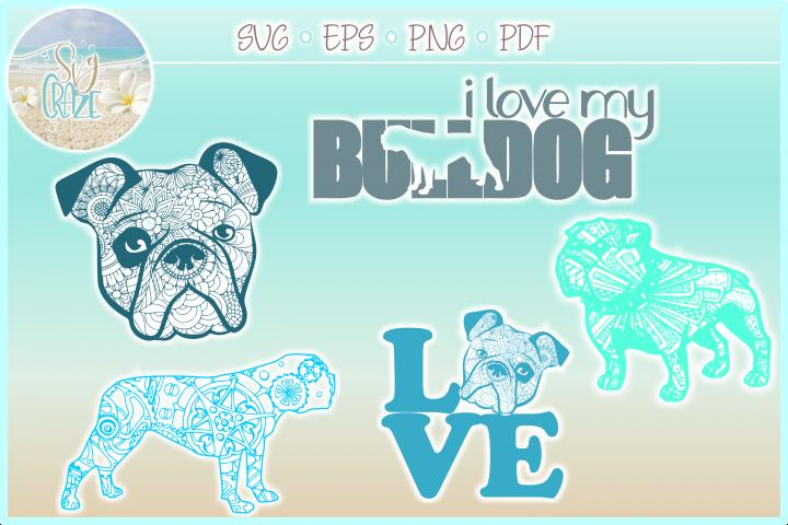 Bulldog Mandala Zentangle SVG Eps Png files for Cricut
