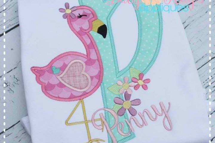 Flamingo Applique Alpha - A-Z - 4 Hoop Sizes!