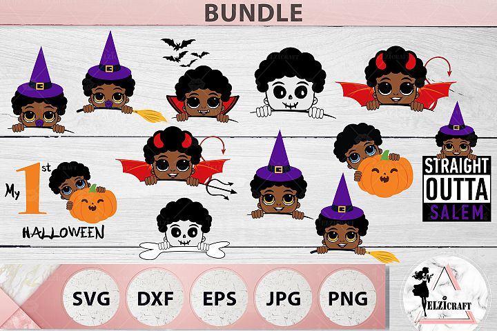 BUNDLE Halloween Afro Boys SVG Cut Files