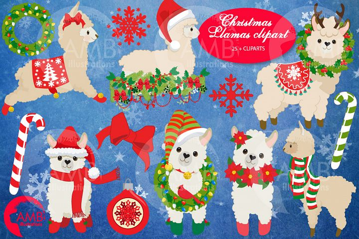 Christmas Llamas clipart, graphics, illustrations, AMB-2694
