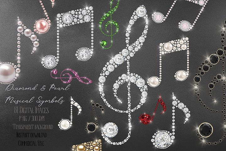 81 Diamond and Pearl Musical Symbols Clef Key Digital Images