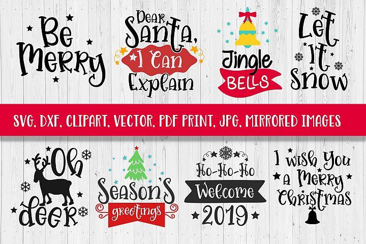 SVG Christmas Sayings Bundle SVG DXF CLIPART VECTOR PRINT