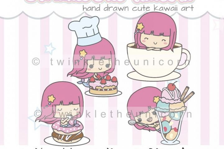 KAWAII MERMAID CLIPART, png graphic collection, happy birthday, planner girl, birthday cake, ice cream, coffee, donut clipart, cute clipart