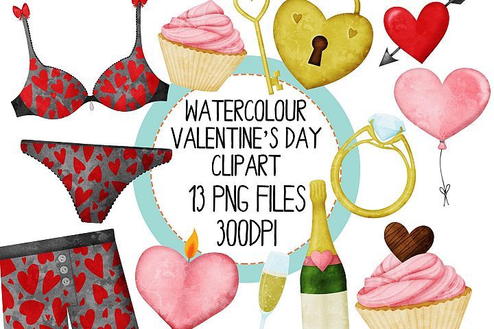Watercolor Valentines Day Clipart Set 3