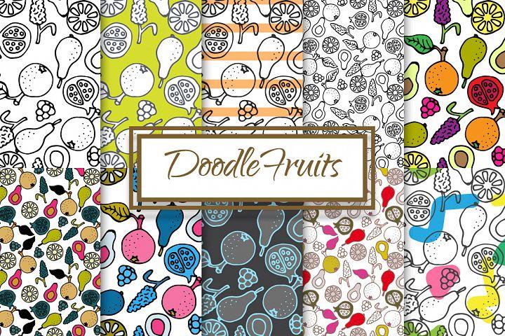 Hand-drawn ink Doodle Fruit Patterns