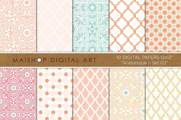 Digital Paper Arabesque Set 03