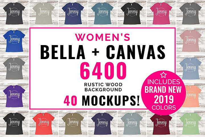 Bella Canvas 6400 Mockup Bundle, Womens T-Shirt, 40 Mockups