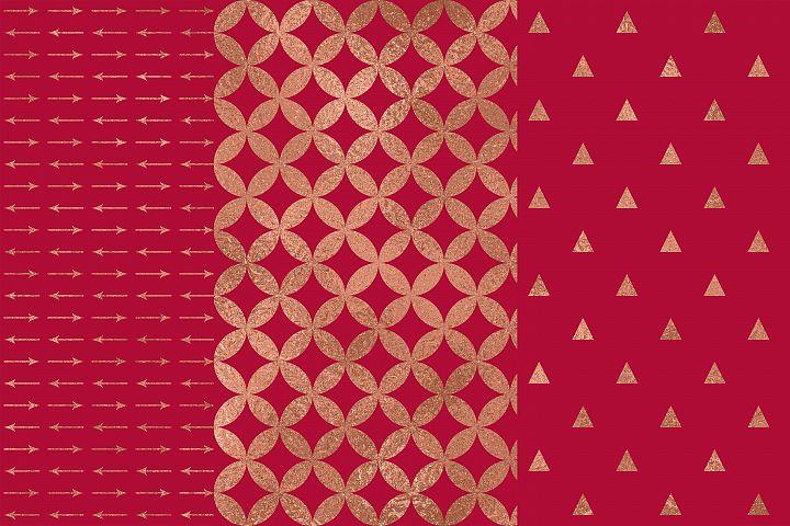 Crimson Rose Gold Digital Papers, Rose Gold Seamless Pattern