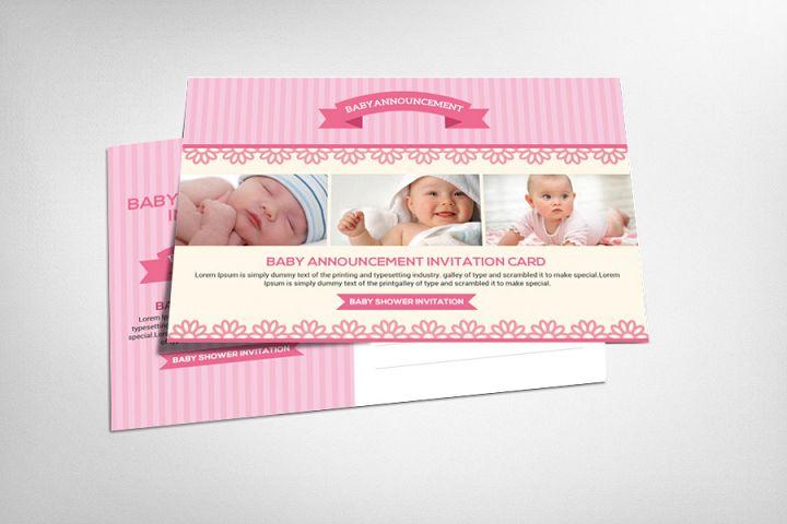 Baby Announcement Psd Card