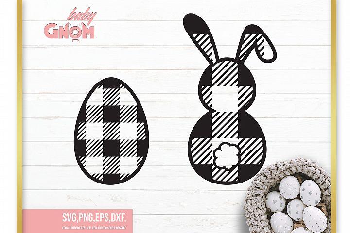 Plaid Bunny SVG, Plaid Easter egg svg ,Easter svg,
