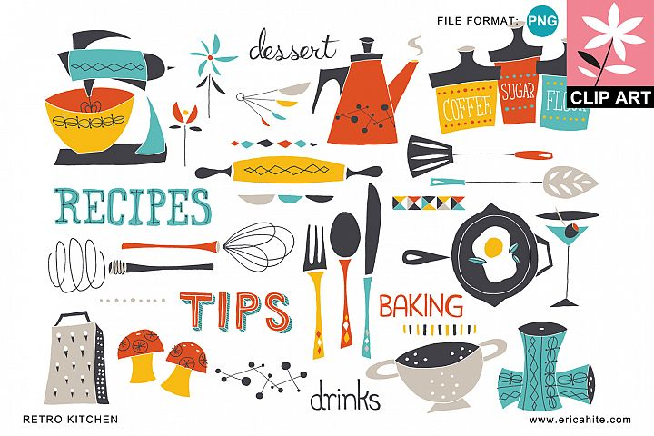 Retro Kitchen: Clip Art (PNG)