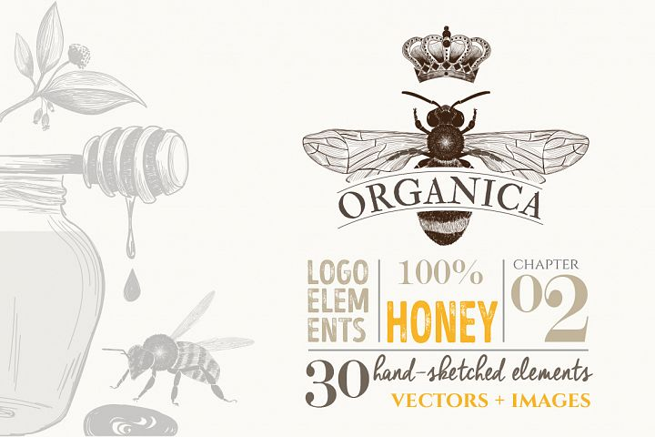 ORGANIC LOGO ELEMENTS  HONEY