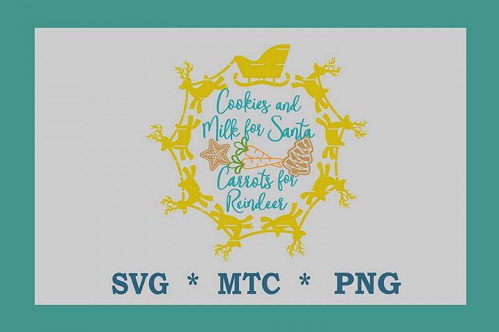 SVG Cookies 4 Santa Carrots 4 Reindeer #03 w/Sleigh Circle