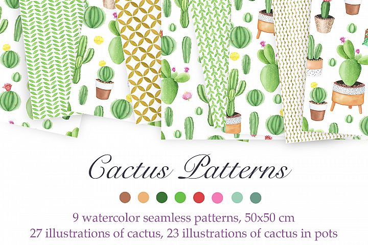 Watercolor Cactus Patterns