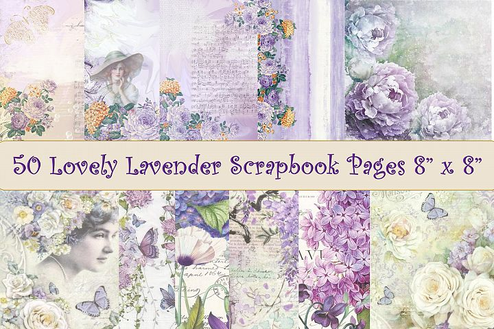 50 Scrapbook Papers. Purple, Lilac and Lavender 8 x 8