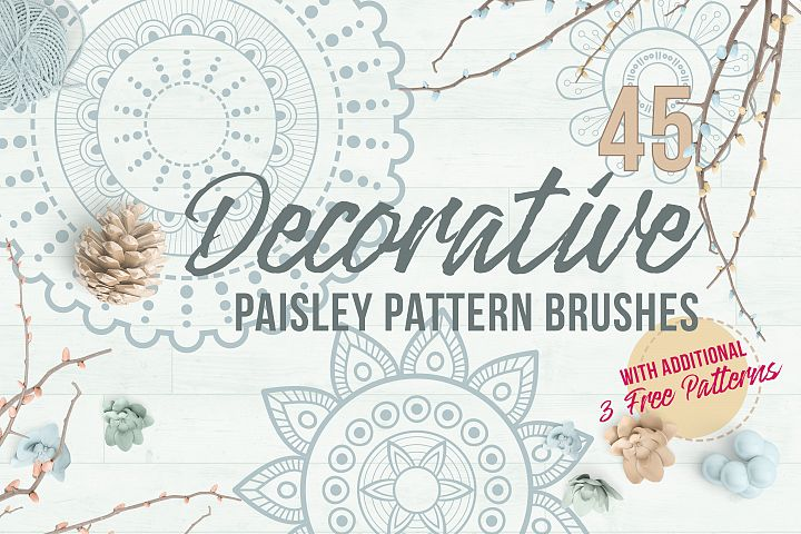 Decorative Paisley Pattern Brushes