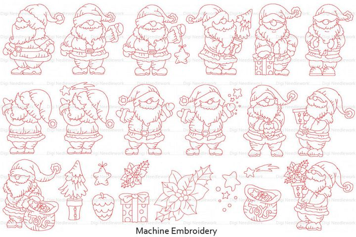 Father Christmas Linework Set 7x7 Hoop Machine Embroidery