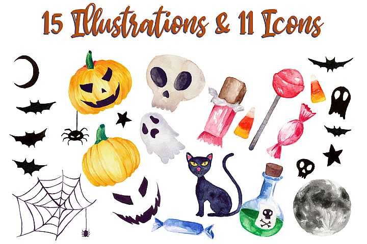 Halloween Watercolor Clip Art Pack! With SVG/Vector Versions example 1