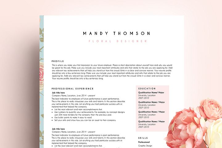 creative resume template word / floral feminine