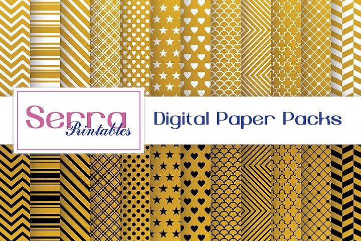 Gold Basic Patterns Digital paper pack