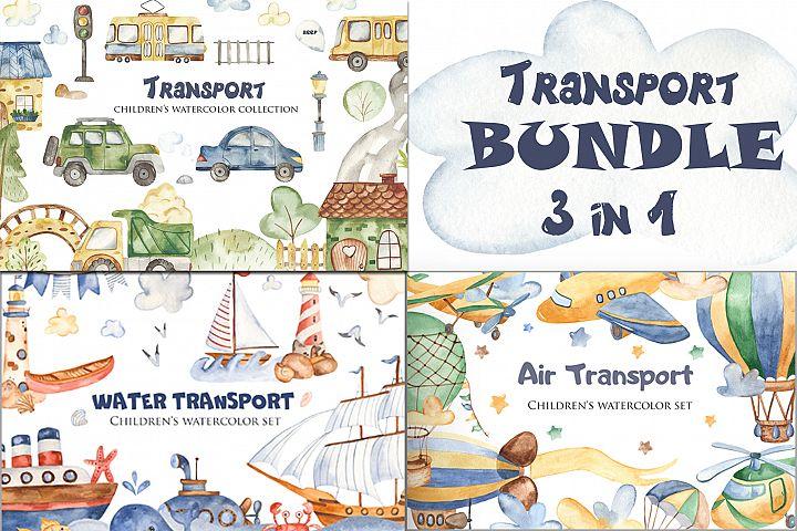 Transport watercolor. BUNDLE.