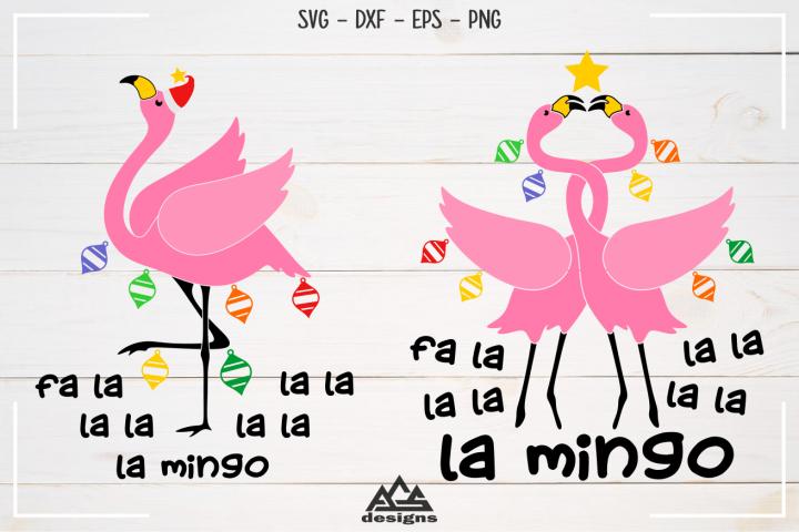 Fa la la Mingo Christmas Flamingo Svg Design