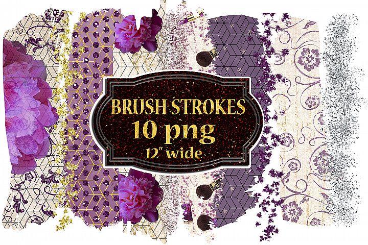 Brush Stroke Clipart, Floral Brush Strokes,Gold brush png