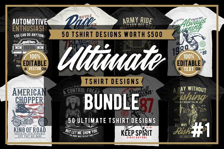 50 Tshirt Designs Bundle #1
