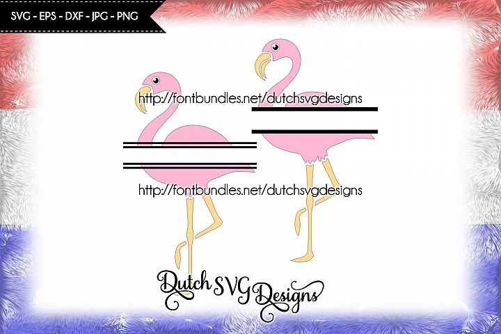 2 Flamingo split border cutting files, in Jpg Png SVG EPS DXF, for Cricut & Silhouette, flamingo svg, flamingo cut file, split border svg