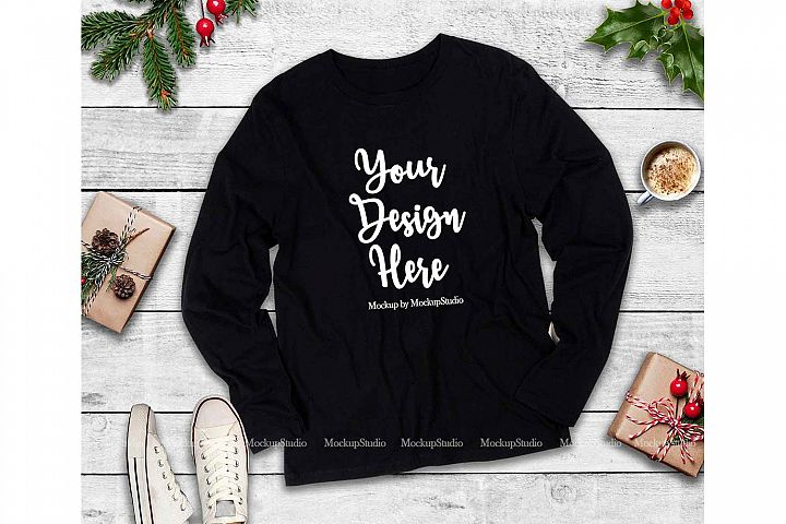 Next Level 3601 Black Christmas Long Sleeve Shirt Mockup