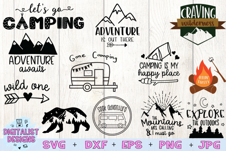 Happy Camper SVG Bundle, 12 Camping SVG Designs
