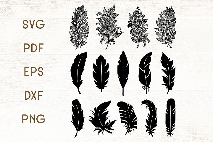 Floral Zentangle Feathers - Feathers SVG - Vector