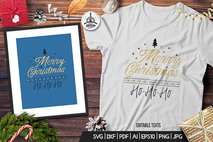 Merry Christmas TShirt Print Template Retro Design SVG File