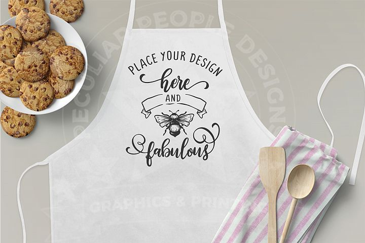 3x2 Apron Mockup, Neutral Grey Kitchen Mockup with cookies
