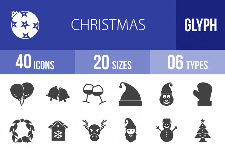 40 Christmas Glyph Icons