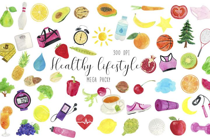 Watercolor Heathy Lifestyle Clipart, Healthy Life Clipart