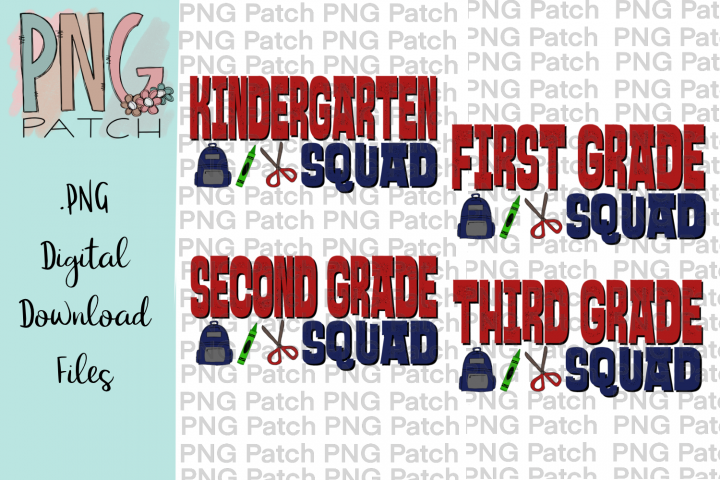 Boy Grade Squad Bundle, Student PNG File, School Sublimation