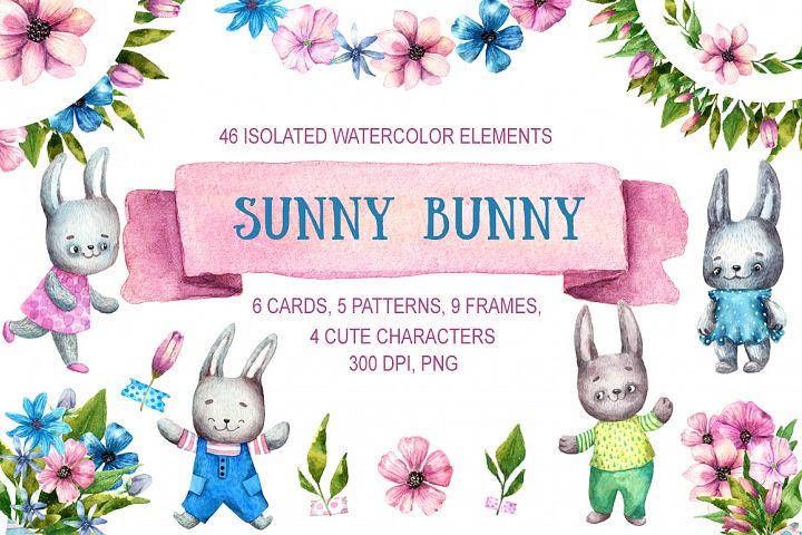 Sunny Bunny - Watercolor Clip Art Set