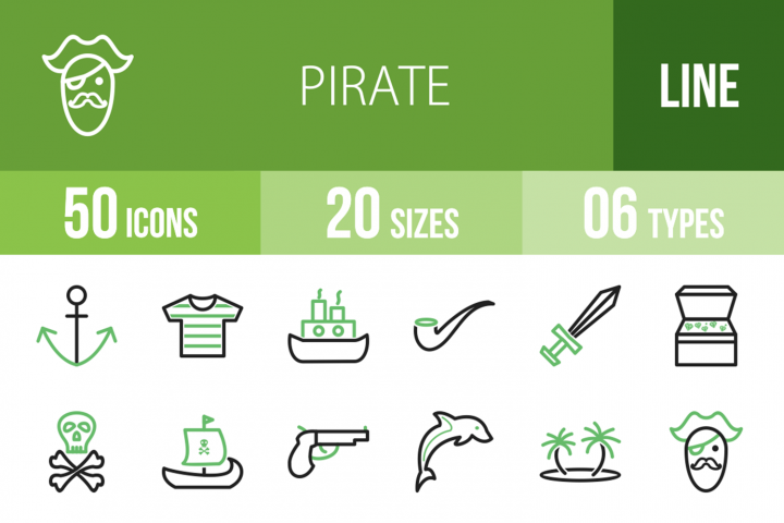 50 Pirate Line Green & Black Icons