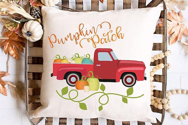 Pumpkins Patch SVG Sublimation, Vintage Truck PNG, Fall EPS