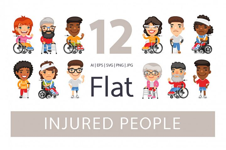 Injured People Flat Cartoon Characters
