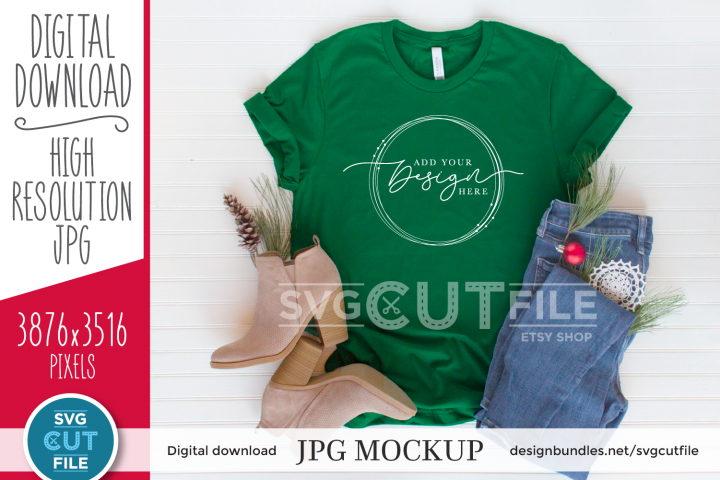 Mockup Bella Canvas 3001, green Christmas Shirt, Evergreen